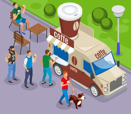Street food car with trade of coffee isometric composition with customers in queue vector illustration