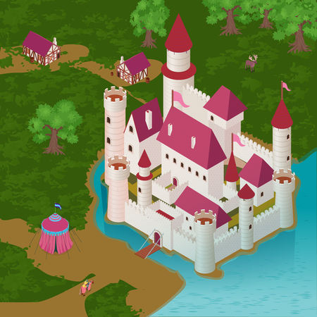 Medieval castle on river bank with royal tent knight on horseback houses of citizens isometric vector illustration