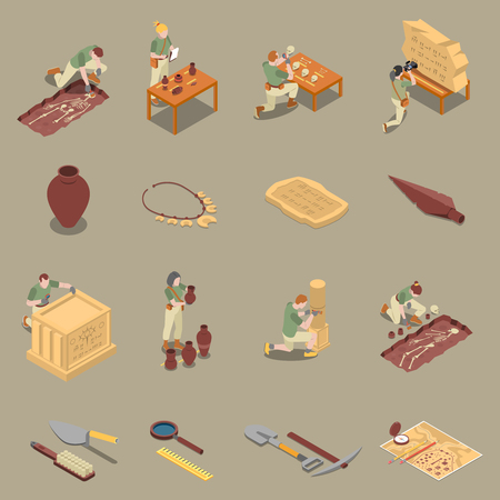 Archeology isometric icons set with antiquity symbols isolated vector illustration Illustration