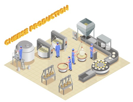 Cheese production isometric composition with elements of factory equipment and staff working in manufacturing process vector illustration