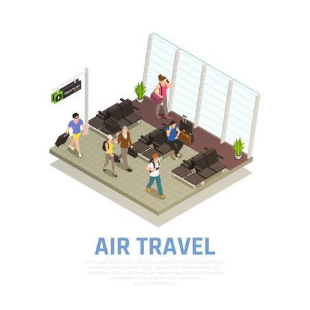 Air travel isometric composition of people with baggage in waiting zone of airport terminal vector illustration Illustration