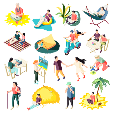 Downshifting escaping work stress relaxing people with life fulfilling career changes isometric icons collection isolated vector illustration
