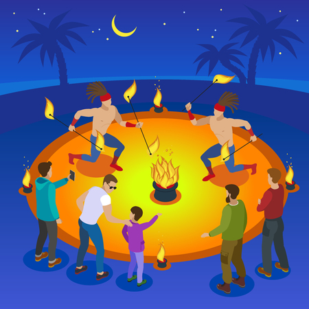 Fire show composition with fun and amusement symbols flat vector illustration