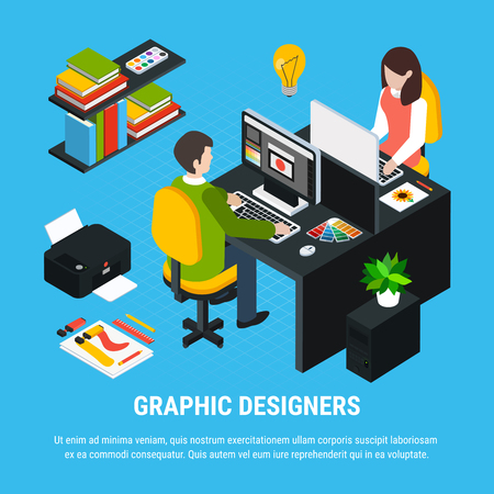 Graphic design isometric colorful concept with two artists working in office 3d vector illustration