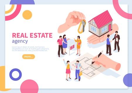 Concept isométrique d'agence immobilière de bannière web avec des éléments géométriques colorés sur illustration vectorielle fond blanc Vecteurs