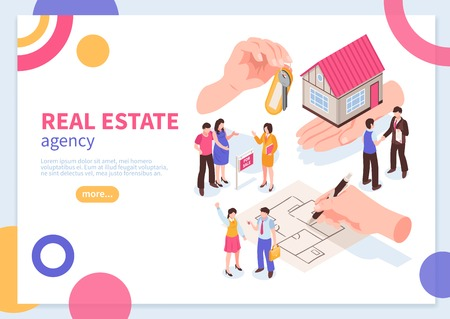 Real estate agency isometric concept of web banner with colorful geometric elements on white background vector illustration
