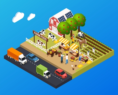 Agriculture landscape isometric background with barn house and farmer market and farm food signboard vector illustration Illustration