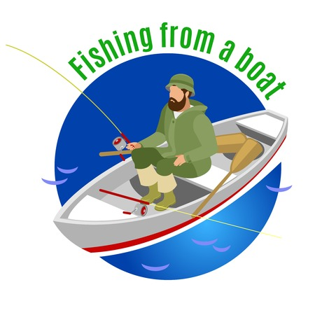 Fisher in protective clothing during fishing from boat on blue round background isometric vector illustration