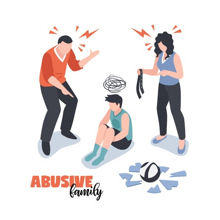 Family conflicts concept with abuse symbols isometric isolated vector illustration Banque d'images - 128160676