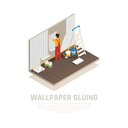 Construction materials isometric composition with editable text and human character of worker covering wall with paper vector illustration