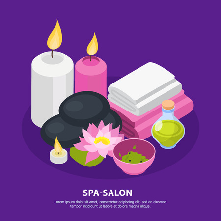 Accessories of spa salon for stone therapy and relaxation isometric composition on violet background vector illustration Foto de archivo - 128160678
