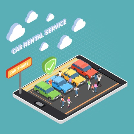 Carsharing isometric concept with car rental and share symbols isometric vector illustration