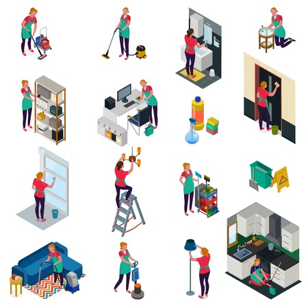 Professional cleaning services for office and apartment set of isometric icons isolated vector illustration