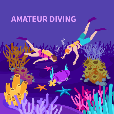Amateur diving isometric composition with divers and amphora with coins at sea bed violet background vector illustration