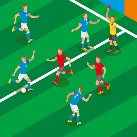 Football match isometric composition with players in form of competing teams and referee showing red card vector illustration