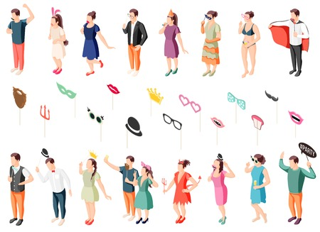 Photo booth party guests in costumes holding props isometric icons collection with eye masks lips hats vector illustration Illustration