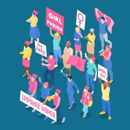 Crowd of protesting women feminists with placards and flags on dark blue background isometric vector illustration