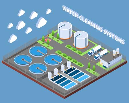 Composición isométrica de sistemas de limpieza de agua con instalaciones de tratamiento industrial y camiones de reparto en la ilustración de vector de fondo azul