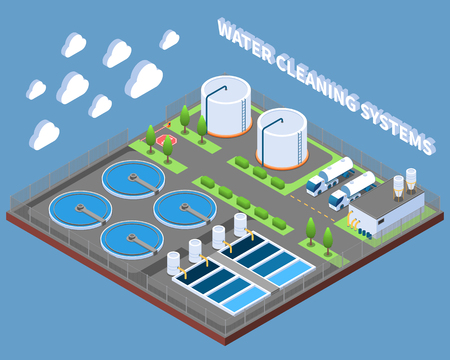 Water cleaning systems isometric composition with industrial treatment facilities and delivery trucks on blue background vector illustration Иллюстрация