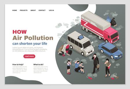 Progettazione della pagina dell'inquinamento atmosferico con l'illustrazione isometrica di vettore dei simboli di trasporto urbano