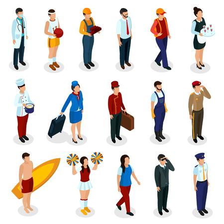 Set isometrischer Menschen verschiedener Berufe in Uniform mit Zubehör isolierte Vektorillustration Vektorgrafik