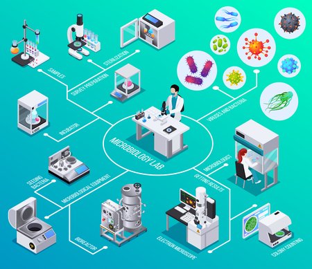 Microbiology lab flowchart  bioreactor electron microscopy seeding bacteria colony counting  isometric elements vector illustration