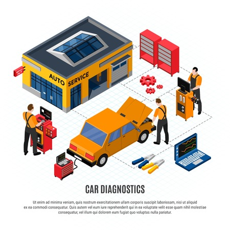 Car diagnostocs isometric concept with repair and spare parts symbols vector illustration