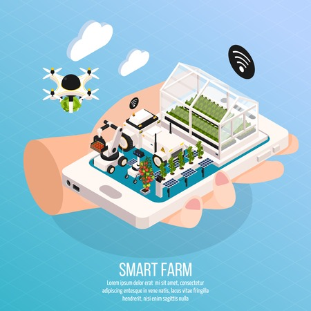 Smart farm on hand composition set with technology symbols isometric  vector illustration