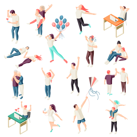 Happy people spending time together relaxing enjoying nature chat physical activity outdoor isometric icons collection vector illustration