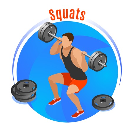 Man with barbell on shoulders during squats on blue round background isometric vector illustration