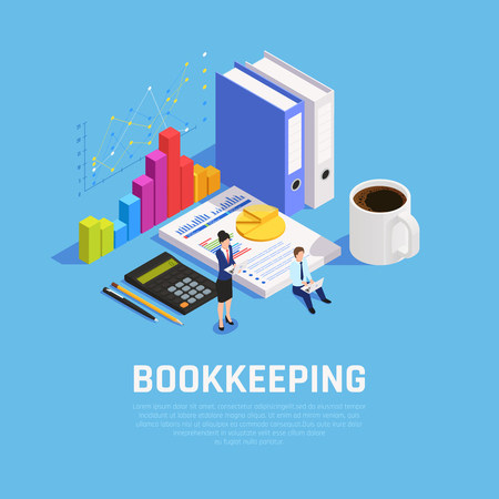 Book keeping isometric composition with charts documentation and accountants during work on blue background vector illustration Illustration