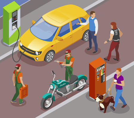 Gas stations refills isometric composition with gasoline filling columns for cars and motorbikes with people characters vector illustration