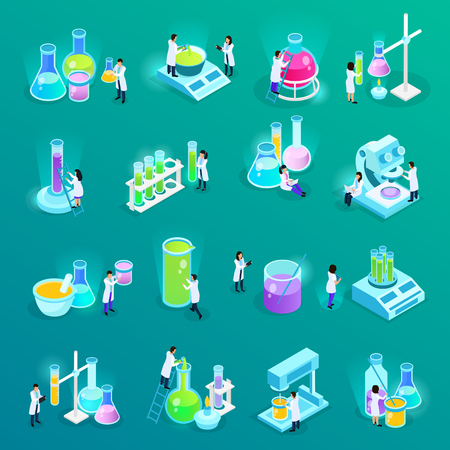 Vaccines development set of isometric icons with scientists and lab equipment isolated on green vector illustration