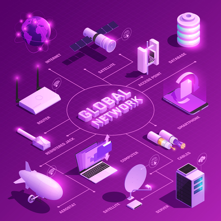Global network isometric flowchart with glowing icons of equipment for internet communications on purple background vector illustration Illustration