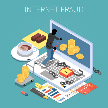 Internet fraud isometric composition hacker with money during attack to computer on turquoise background vector illustration
