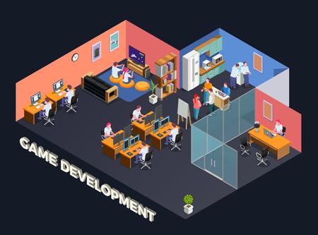Composition isométrique de développement de jeux avec des programmeurs et des joueurs assis devant leur ordinateur dans une illustration vectorielle intérieure de bureau