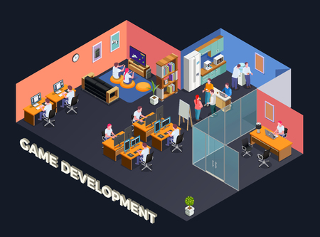 Game development isometric composition with programmers and gamers sitting at their pc in office interior vector illustration