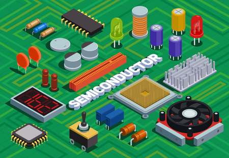 Semiconductor isometric background imitated printed circuit board with different electronic components of electric scheme vector illustration