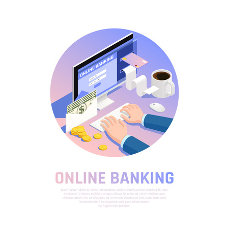 Accounting isometric round composition with online banking for income and payment vector illustration