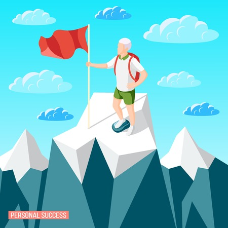 Personal success concept isometric background with mountain landscape and cragsman person with flag staying on peak vector illustration