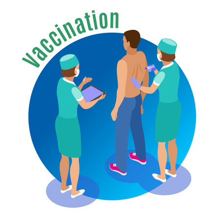 Vaccination isometric background with human characters of medical attentants giving jab to male patient with text vector illustration Illustration