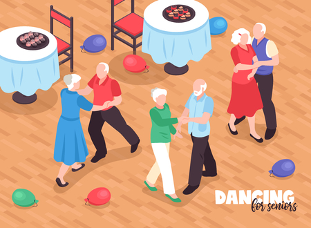 Active elderly people dancing background with active lifestyle symbols isometric vector illustration