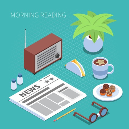 Reading and library concept with morning reading symbols isometric isolated vector illustration Illustration