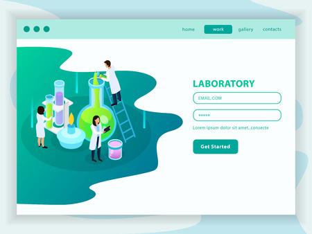 Página de inicio web isométrica de desarrollo de vacunas con cuenta de usuario de menú e icono de la ilustración de vector de laboratorio de química