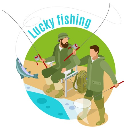 Men with spinning rods and haul during lucky fishing on round background isometric vector illustration