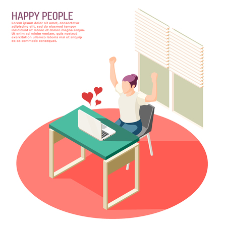 Happy people in love dating chat with heart symbols soaring from laptop screen isometric composition vector illustration Illustration