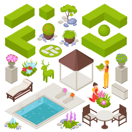 Landscape design set with flowers and plants isometric isolated vector illustration