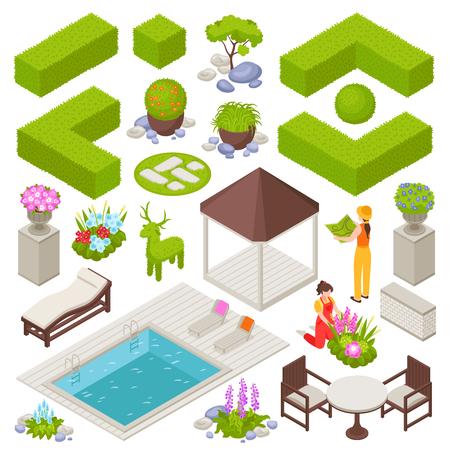 Conception de paysage sertie de fleurs et de plantes illustration vectorielle isolée isométrique Vecteurs