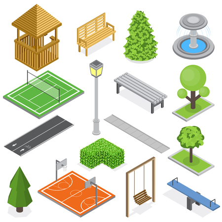 City park infrastructure isometric set of elements of greenery kid playground and sport courts isolated vector illustration