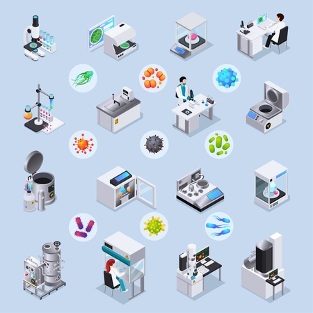 Microbiology isometric set of laboratory equipment for realization of scientific experiments and magnified bacteria and virus images under microscope isolated vector illustration 向量圖像